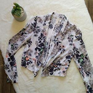 Frenchi White Floral Blazer Cardigan